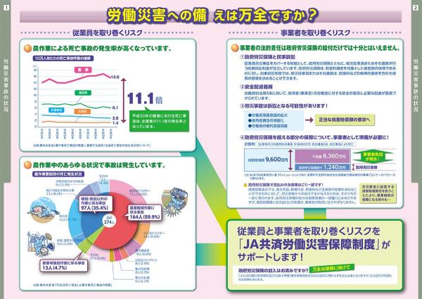 JA共済労働災害保障制度のパンフレット