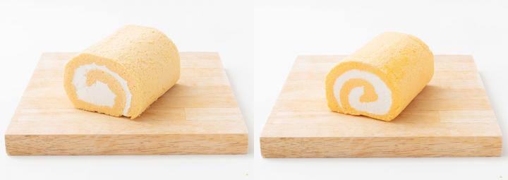 玄米美人ロールケーキ(左)、あきたこまちロール