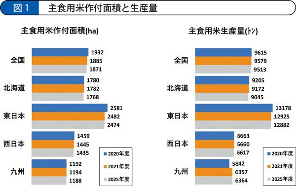 主食用米作付面積と生産量