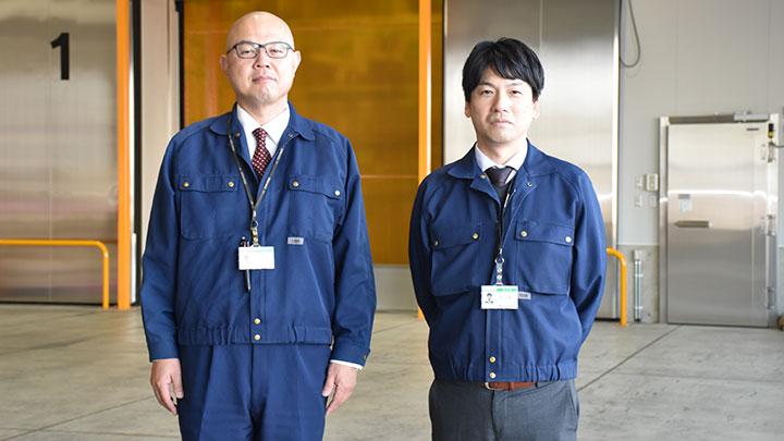 JA全農いしかわ米穀課の宮下徹也専任課長(左)と是枝征秀調査役
