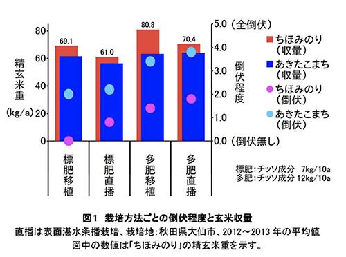 図1 栽培方法ごとの倒伏程度と玄米収量