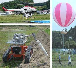 気球、無人ヘリ、ラジコン移動車を使った測定のようす