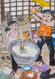 河見優希さん(11歳)の「おもちつき」