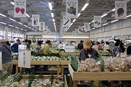 2日オープンし、来場者で賑わった農産物直売所