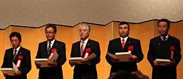 JA表彰をうけた5JAの代表ら。(左から)全農会長賞のJAきみつ、JAとぴあ浜松、JA斐川町、JAおちいまばり、JAやつしろ