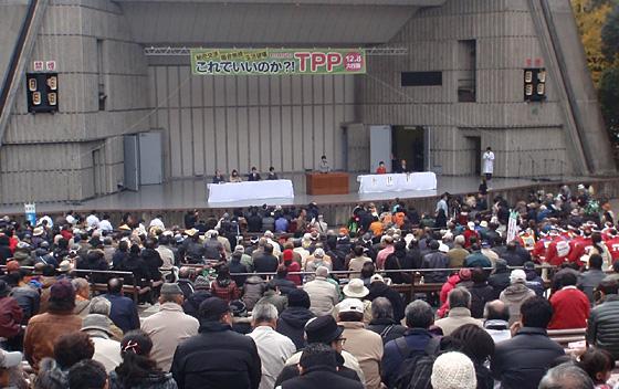 全国からさまざまな分野の団体が集まり、TPP反対の声をあげた。