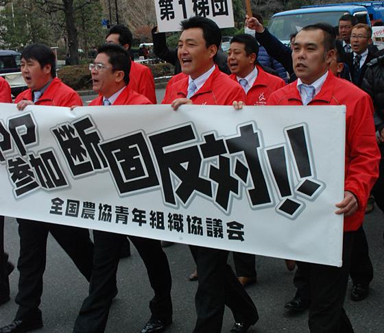 霞が関官庁街でTPP参加反対を訴えるJA全青協の盟友ら
