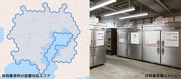 共同集荷場の設置対応エリア(左)とイメージ