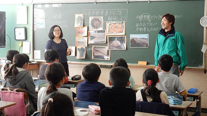 「小平冬野菜煮だんごの日」の生産者による給食の出張授業