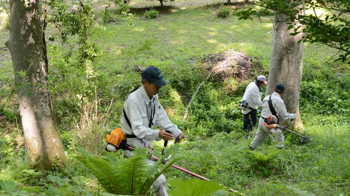マレットゴルフ場の草刈りをする農家組合のメンバー