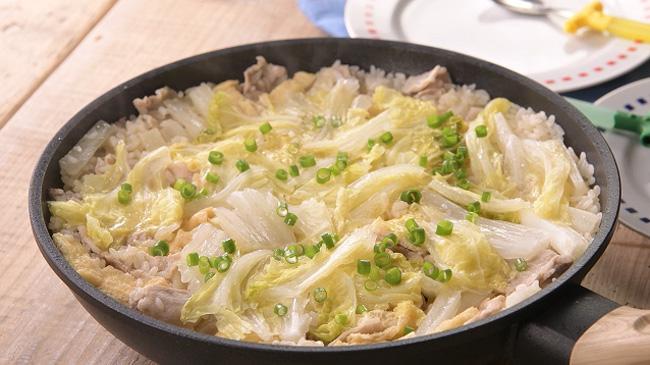 全農オリジナルレシピの「ちぎり白菜のパエリア」