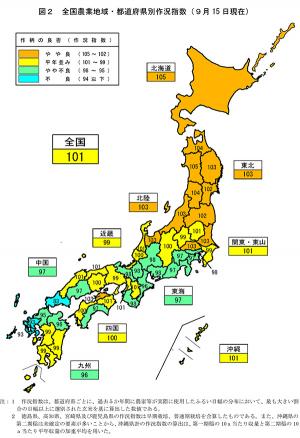 全国農業地域・都道府県別作況指数(9月15 日現在)