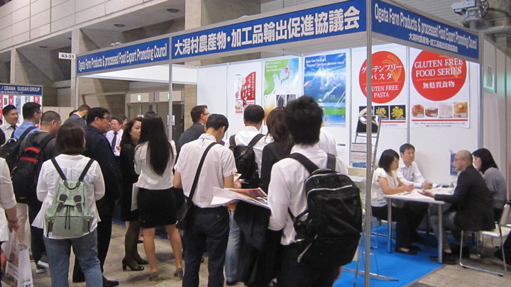菅首相の地元・秋田の大潟村でも輸出への試みが続く(千葉・幕張メッセのフーデックスで)