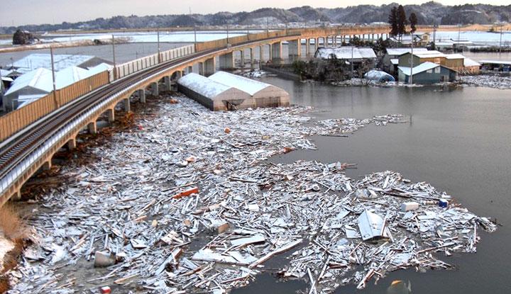 仙台と石巻の沿岸を結ぶJR仙石線は、津波と流木で機能不全となった