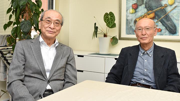 左から谷口信和東大名誉教授、蔦谷栄一農的デザイン研究所代表