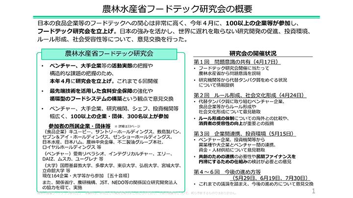 日本の強み活かした研究開発促進へ「フードテック研究会」中間報告