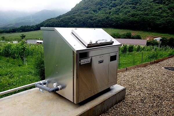 設置済みの食品残渣発酵分解装置(フォースターズ)