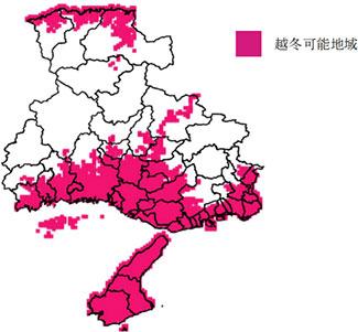 低温期の気温から推定されるジャンボタニシの越冬可能地域 メッシュ農業気象データ(平年気温データ)を用いた低温積算温度(小澤・牧野,1988)の推定(積算期間:10月1日~翌年3月31日)