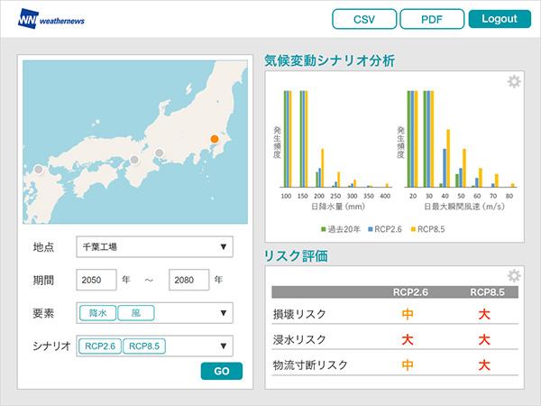 気候変動リスク分析サービス「Climate Impact」画面イメージ