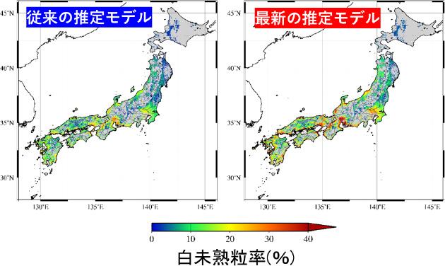 白未熟粒発生率の地図