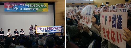 TPPの国会審議を前に批准阻止を訴えて決起集会