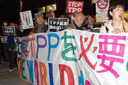 TPPの国会審議が衆議院本会議で始まった4月5日夕、首相官邸前で批准阻止を訴える農業、労働、市民団体の人々