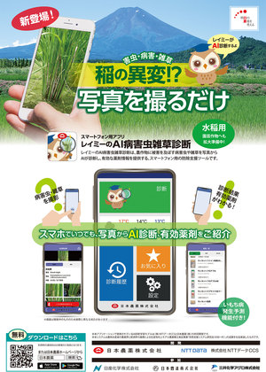 写真を撮れば稲の異変がわかる AI病害虫雑草診断アプリ配信 日本農薬