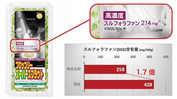ブロッコリースーパースプラウトの有用成分「スルフォラファン」含有量1.7倍に 村上農園