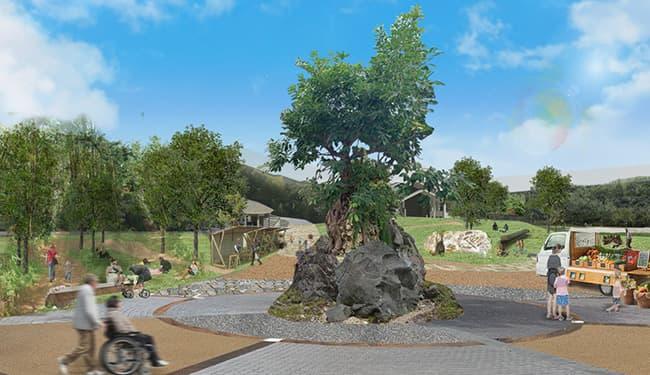 シンボルツリーアコウの木がそびえる「木の庭」