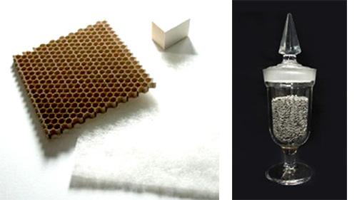 塗布型の触媒(左)、ペレット型の触媒