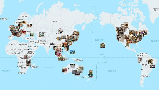 2019年世界中からの投稿があった様子を示したおにぎりアクショングローバルマップ