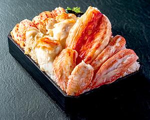 タラバ、花咲ガニ、毛ガニ、ずわいガニを食べ比べ。蟹づくしの4大カニ 蟹あらし弁当