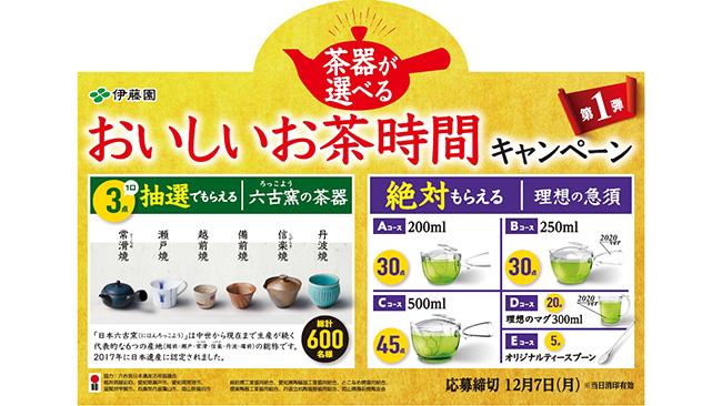 「茶器が選べる おいしいお茶時間」キャンペーン実施 伊藤園