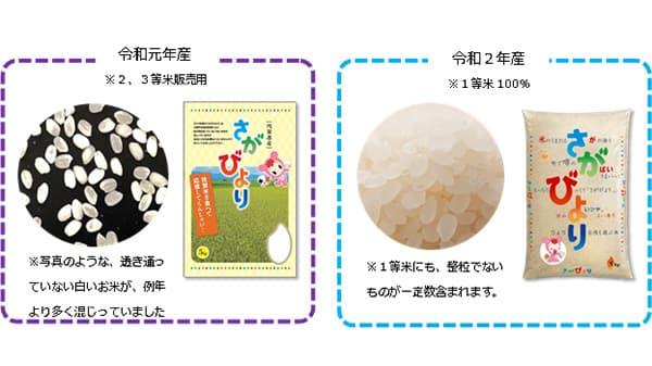 令和2年産新米「さがびより」1等米100%で「透明米袋」復活 佐賀県