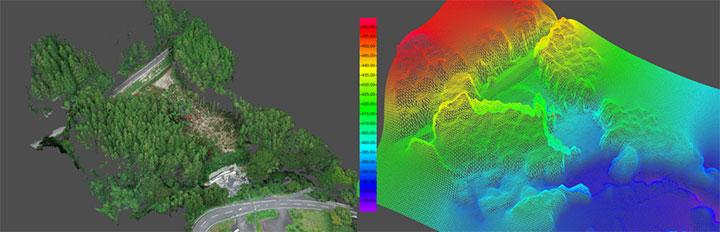 Terra Mapperで作成した、被災地の点群データとメッシュデータ