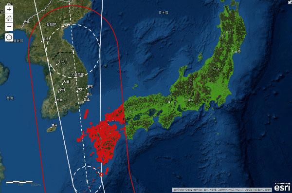 台風進路上の保険加入者抽出イメージ