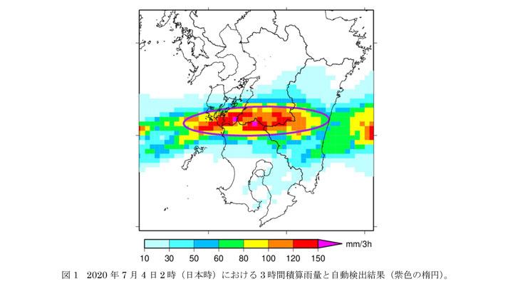 2020年7月4日2時(日本時)における3時間積算雨量と自動検出結果(紫色の楕円)