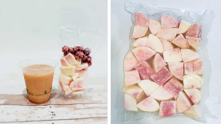 業務用で販売する桃スムージー(左)と冷凍桃