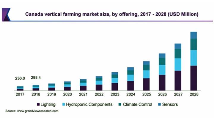 垂直農法の市場規模 2028年までにCAGR23.6%で拡大の見込み