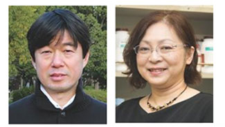 農業生産科学科の細川教授(左)と生物機能科学科の篠原教授