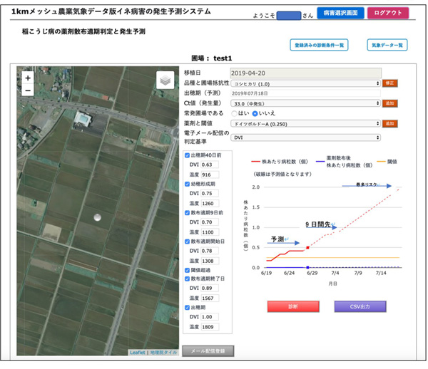 1km-メッシュ農業気象データ版。イネ稲こうじ病の薬剤散布適期連絡システムのPC版画面例