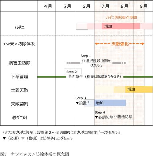 ナシ<w天>防除体系の概念図