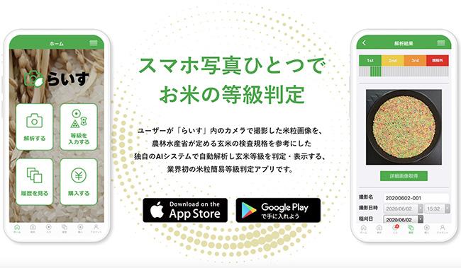 日本初のAI米粒等級解析アプリを提供開始 スカイマティクス