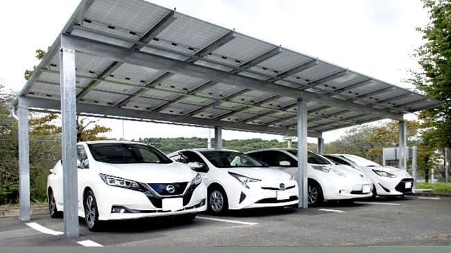 タカミヤ群馬工場に設置した自家消費型ソーラーカーポート