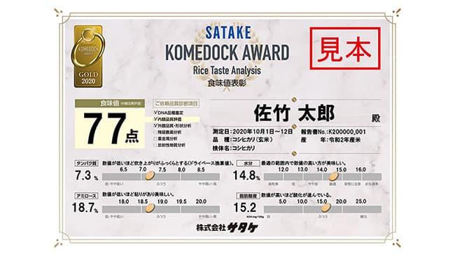 コメドック分析米の食味値表彰制度を新設 サタケ