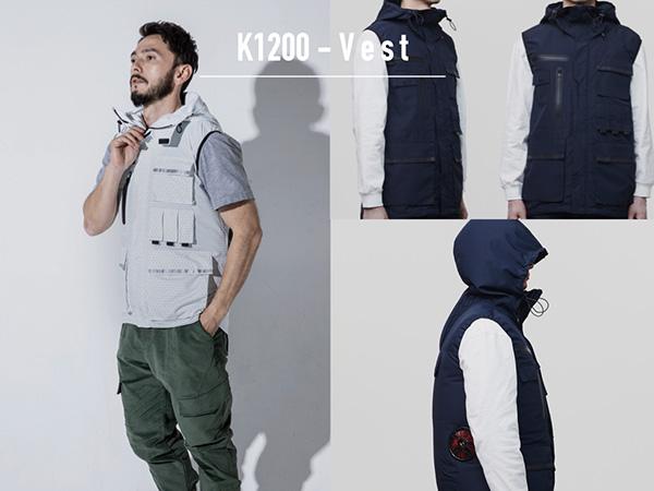 K1200「KANSAIユニフォーム×空調風神服」フード付きベスト