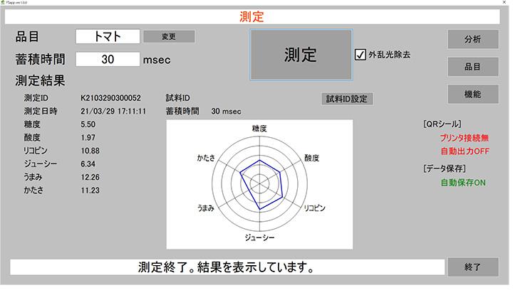 測定結果の表示画面例。 表示項目は10項目まで可能