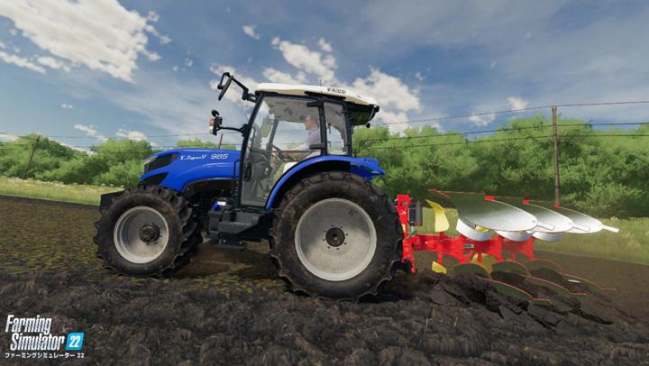 ゲーム内の農地を耕うんする井関農機のトラクター「TJV985」