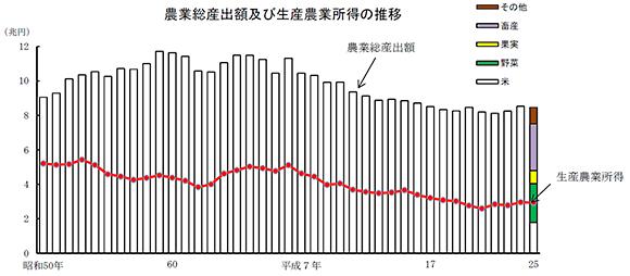 農業総算出額及び生産農業所得の推移