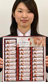 地元の製菓メーカーと連携して開発したイチゴ「あまおう」の菓子